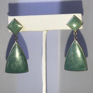 Trifari Signature Dangle Earrings Shimmer Green